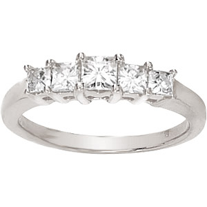 14kt White Gold 9/10 CT TW Square Moissanite Ring