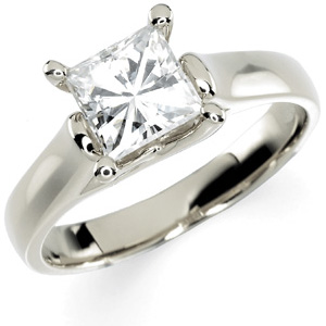 14kt White Gold 1 1/4 CT TW Square Moissanite Solitaire Ring