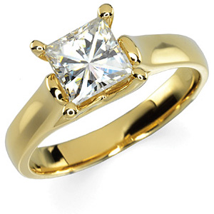 14kt Gold 1 1/4 CT TW Square Moissanite Solitaire Ring