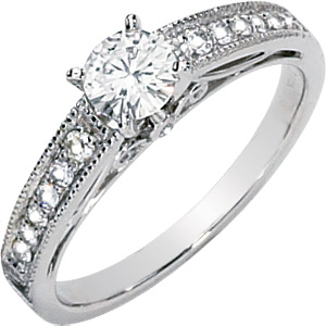14kt White Gold 1/2 CT TW Moissanite Evelyn Ring