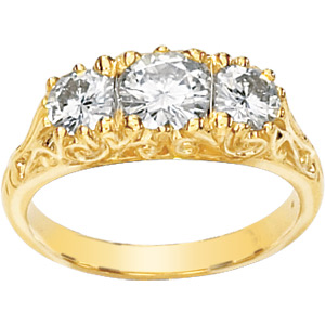 14kt Yellow Gold 1.25 ct tw Moissanite 3-Stone Scroll Ring