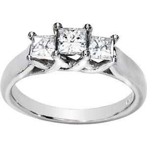 1 CT TW Moissanite 3-Stone Ring