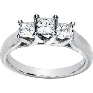 1 CT TW Moissanite 3-Stone Ring