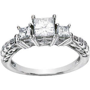 14kt White Gold 1.25 ct Square Forever Classic Moissanite 3-Stone Ring