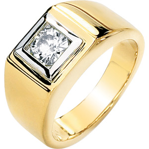 14k Two Tone Gold 1 ct Forever One Moissanite Men's Ring