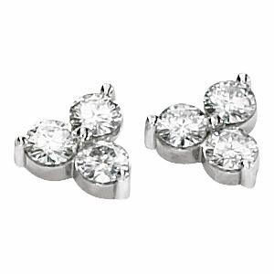 1.5 CT TW Moissanite 3 Stone Earrings