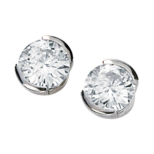 14kt White Gold 1 ct tw Moissanite Half Bezel Earrings