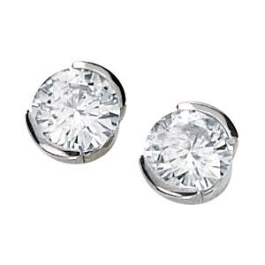 14kt White Gold 1 ct tw Moissanite Half Bezel Earrings