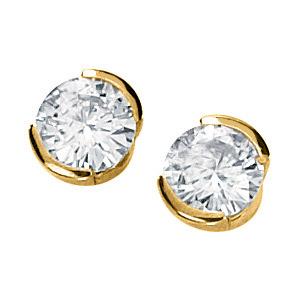 14kt Yellow Gold 1 ct tw Moissanite Half Bezel Earrings