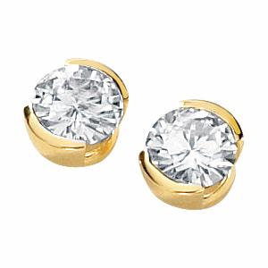 14kt Yellow Gold 2 ct tw Moissanite Half Bezel Earrings