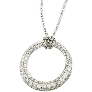 14k White Gold 1 1/6 CT Diamond Circle Necklace