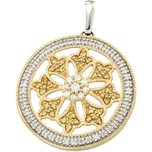 1/2 CT Two Tone Diamond Circle Pendant