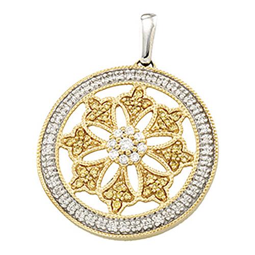1/2 CT Two Tone Diamond Circle Pendant