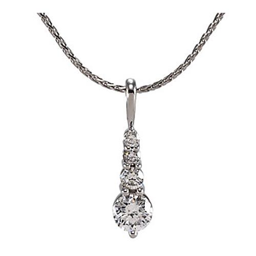 14k White Gold Diamond 1 ct tw Journey Diamond Pendant with Chain