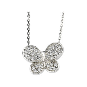 Sterling Silver Cubic Zirconia Butterfly 18in Necklace