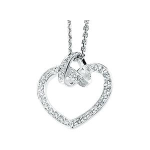 Cubic Zirconia Heart 18in Necklace