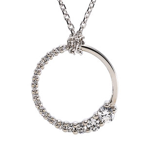 14kt White Gold 1/5 ct Journey Diamond Round Pendant & 18in Chain