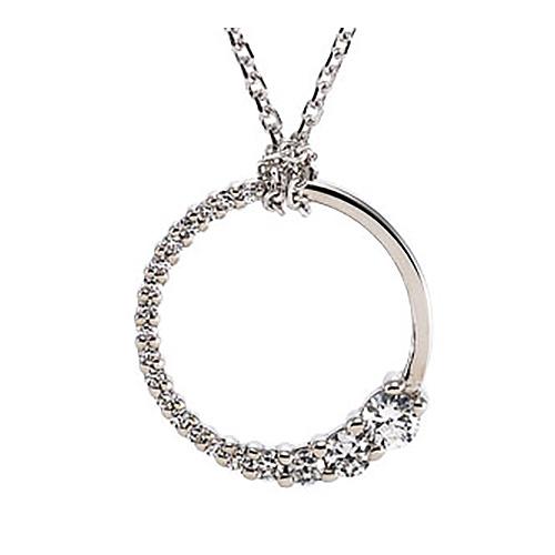 14kt White Gold 1/5 ct Journey Diamond Round Pendant & 18in Chain