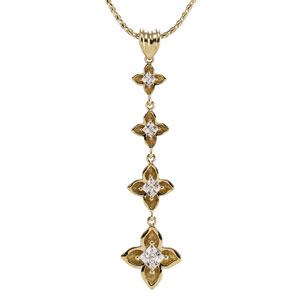 14k Yellow Gold 1/2 ct tw Diamond Journey Floral Pendant