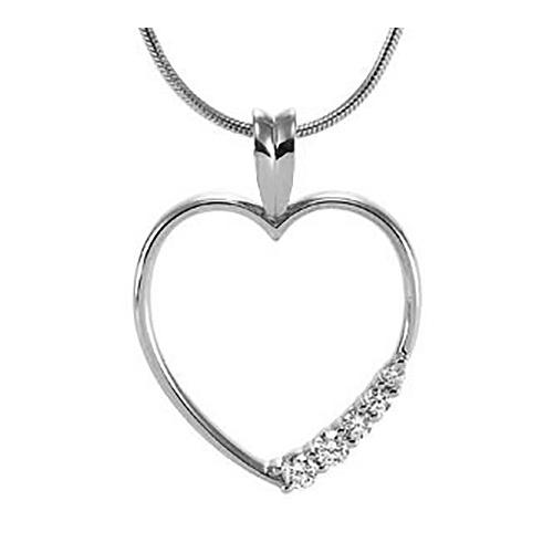 14kt White Gold 1/5 ct Journey Diamond Heart Pendant