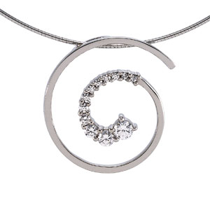 14k White Gold 1/2 CT TW Journey Diamond Spiral Pendant