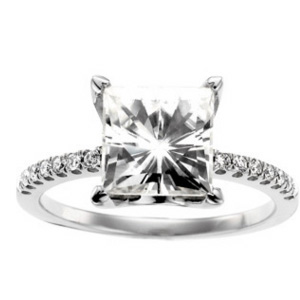 14kt White Gold 3.2 CT TW Square Moissanite and 1/6 CT Diamond Ring