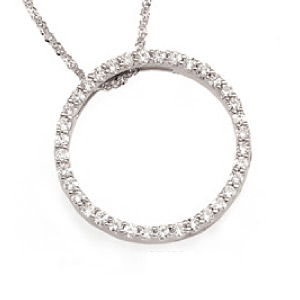 14k White Gold 1 ct tw Moissanite Circle 18in Necklace