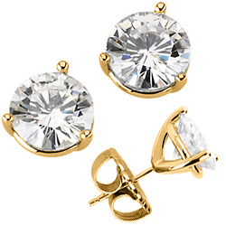 14k Yellow Gold 2 ct tw Moissanite 3-Prong Stud Earrings