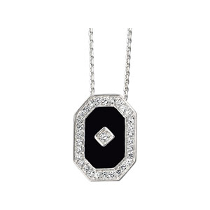 Sterling Silver Genuine Onyx and Cubic Zirconia Pendant on 18in Chain