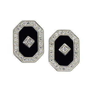 Genuine Onyx and Cubic Zirconia Earrings