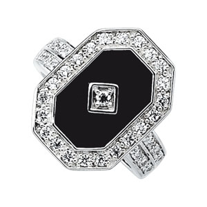 Genuine Onyx and Cubic Zirconia Ring