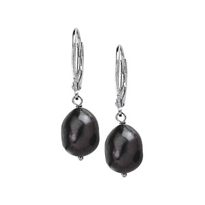 Freshwater Black Cultured Baroque Pearl Earrings