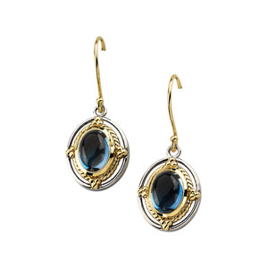 Sterling Silver 14kt Gold 8x6mm London Blue Topaz Earrings