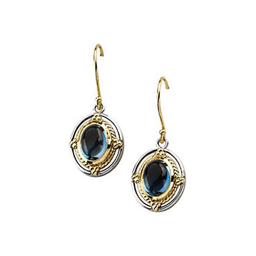 Sterling Silver 14kt Gold 8x6mm London Blue Topaz Earrings