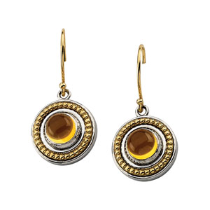 Sterling Silver 14kt Gold 6mm Citrine Cabochon Earrings