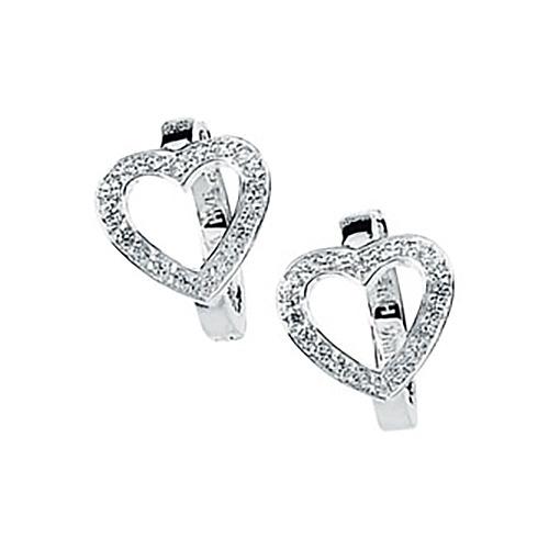 Cubic Zirconia Heart Hoop Earrings
