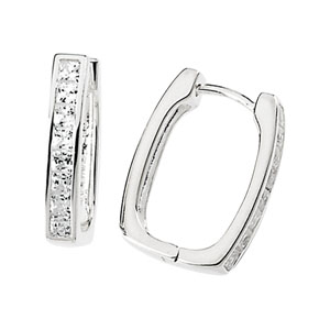Cubic Zirconia Hinged Hoop Earrings