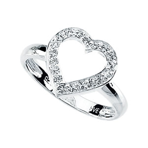 Sterling Silver 1/3 ct tw Cubic Zirconia Heart Ring