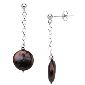 Freshwater Cultured Black Coin Pearl Station Earrings