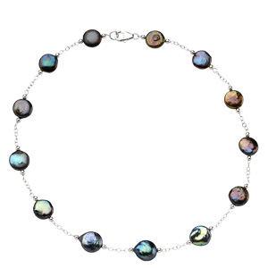 Sterling Silver Freshwater Cultured Black Coin Pearl 18in Necklace