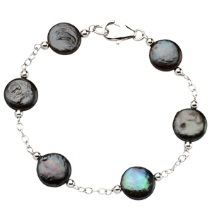 Sterling Silver 7 1/2in Freshwater Cultured Black Coin Pearl Bracelet