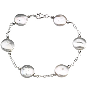 Sterling Silver 7 1/2in Freshwater Cultured White Coin Pearl Bracelet