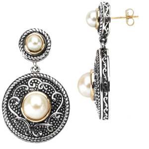 Sterling Silver and 14kt Gold Freshwater Cultured Pearl Earrings