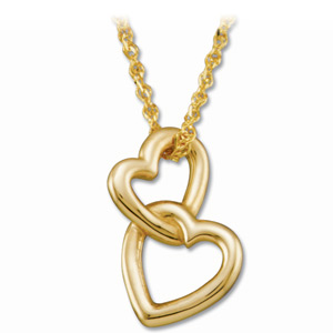 Double Heart Pendant on a 18in Solid Rope Chain