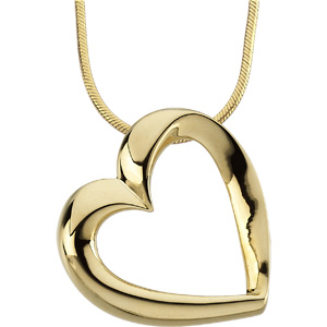 14kt Yellow Gold 7/8in Heart Pendant on a 18in Round Snake Chain