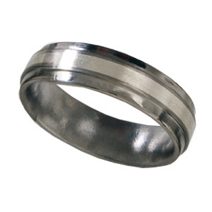 Titanium 6mm Wedding Band Satin with Sterling Silver Inlay and Bevels