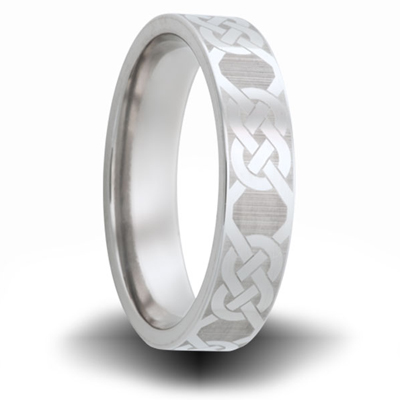 Knot Pattern Cobalt 6mm Pipe Cut Ring