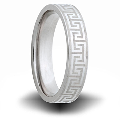 Greek Pattern Cobalt 6mm Pipe Cut Ring