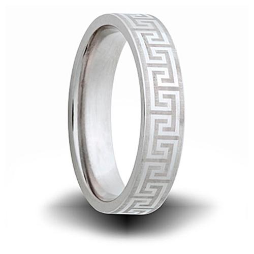 Greek Pattern Titanium 6mm Pipe Cut Ring