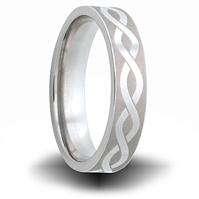 Helix Pattern Titanium 6mm Pipe Cut Ring